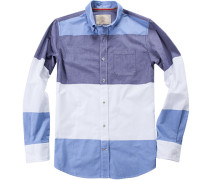 Oberhemd, Oxford, himmelblau-weiß gestreift