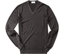 Pullover, Merinowolle, graubraun meliert
