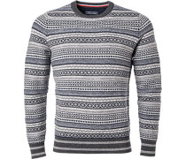 Pullover Pulli, Wolle, -grau gemustert