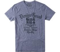 T-Shirt, Baumwolle, taubenblau meliert