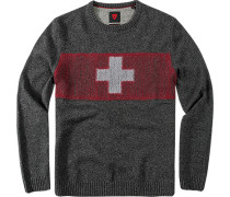 Pullover, Wolle, anthrazit-rot