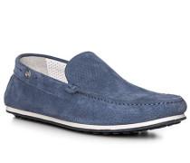 Slipper, Veloursleder, jeansblau