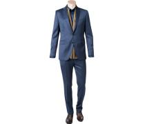Anzug, Shaped Fit, Schurwolle, dunkelblau