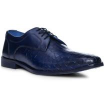 Schuhe Derby mit Gürtel, Leder, royalblau