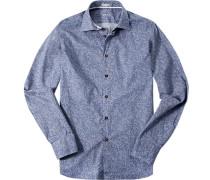 Hemd, Slim Fit, Twill, rauchblau gemustert