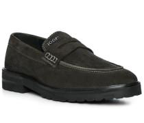 Schuhe Loafer, Veloursleder, dunkelgrün