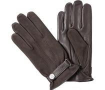 Handschuhe, Velours-Glattleder, mittelbraun