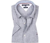 Kurzarm-Hemd, Slim Fit, Leinen-Baumwolle