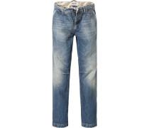Jeans, Straight Fit, Baumwolle, mittelblau