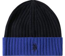 Mütze, Schurwolle, marineblau-capriblau
