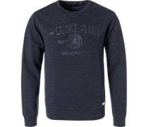 Sweatshirt, Baumwolle, navy meliert
