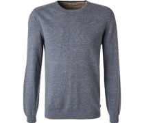Pullover, Baumwolle, graublau meliert