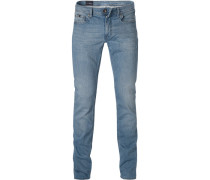 Jeans, Slim Fit, Baumwoll-Stretch, hellblau