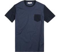 T-Shirt, Baumwolle, navy kariert