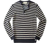 Pullover, Leinen, navy gestreift