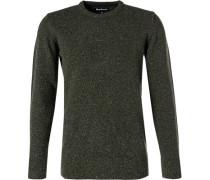 Pullover, Wolle-Seide, moosgrün meliert