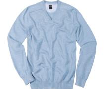 V-Pullover, Baumwolle, hellblau
