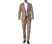 Anzug, Slim Fit, Baumwoll-Stretch halbgefüttert