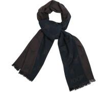 Schal, Wolle, navy-rauchblau gemustert