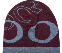 Mütze, Schurwolle, bordeaux-jeansblau