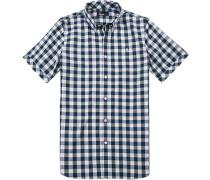 Kurzarm-Hemd, Baumwolle, -grün kariert