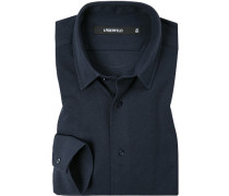Hemd, Slim Fit, Baumwoll-Pique, navy