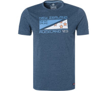 T-Shirt, Baumwolle, marineblau meliert