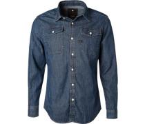 Hemd, Slim Fit, Baumwolle, jeansblau