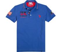 Polo-Shirt Polo, Baumwoll-Pique, azurblau