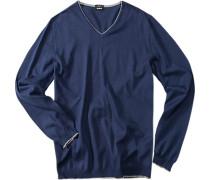 Pullover, Slim Fit, Baumwolle, mittelblau
