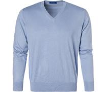 Pullover Pulli, Seide-Baumwolle, bleu