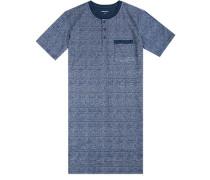 Nachthemd, Baumwolle, nachtblau gemustert