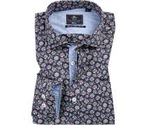 Hemd, Popeline, navy gemustert