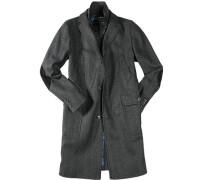 Mantel, Wollmischung, Fischgrat, dunkelgrau