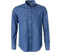 Hemd, Regular Fit, Baumwolle, saphirblau