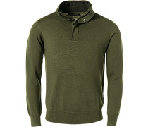 Pullover Troyer, Merinowolle, olivgrün