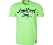 T-Shirt, Baumwolle, leuchtgrün meliert