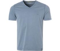 T-Shirt, Baumwolle, taubenblau