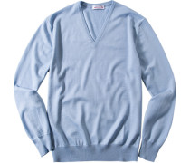 Pullover, Merinowolle, hellblau meliert