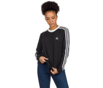 3 Stripe Long Sleeve T-Shirt black