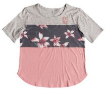 Hello Winter Colorblock T-Shirt charcoal heather flower f