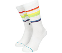 Glitch Rainbow Crew Socks white