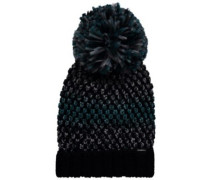 Crescent Wool Mix Beanie black out