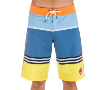 """Striped 1975 21"""" Boardshorts blue yellow color block"""