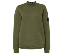 Aralia Quilted Crew Sweater winter moss
