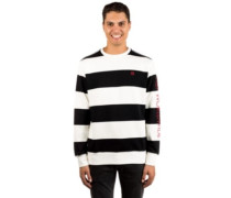 Catalina Stripe Crew Fleece Sweater black