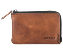 Handcrafted Zip Coin Slim Wallet brown