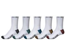 Ingles Crew 5Pk 7-11 Socks white