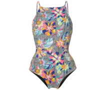 Rev High Neck Swimsuit black graphic small pink