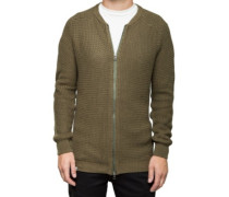 Knitted Zip Cardigan olive
